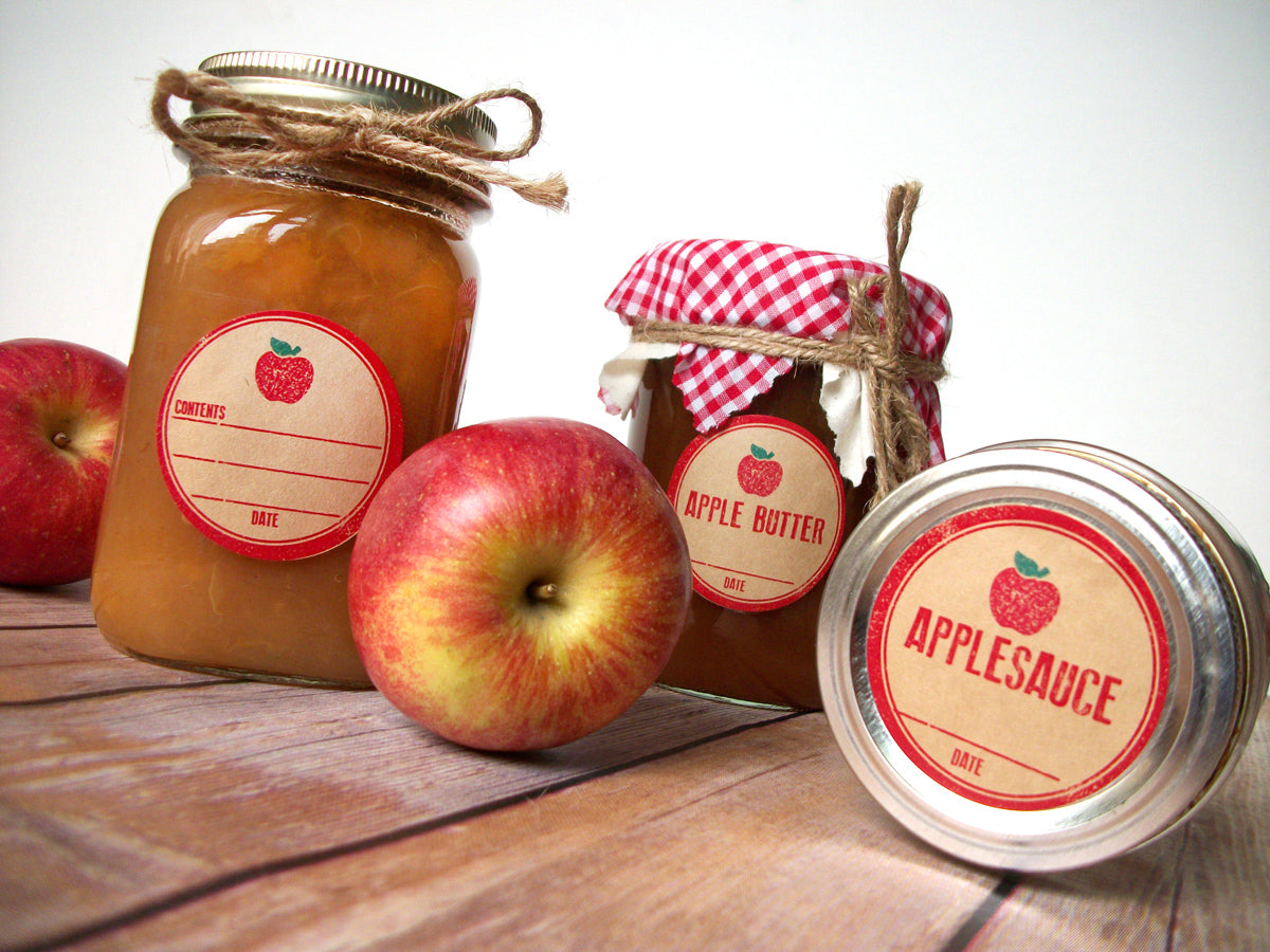 Rubber Stamp Applesauce Apple Butter Canning Labels | CanningCrafts.com