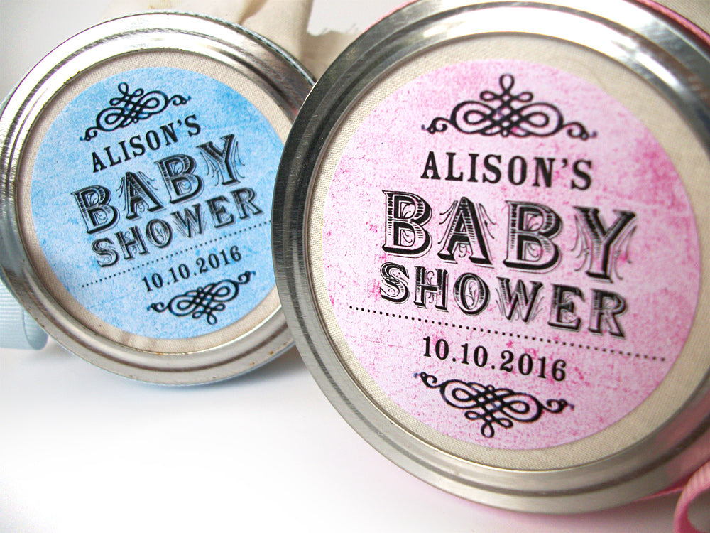 custom vintage pink & blue baby shower favor labels | CanningCrafts.com