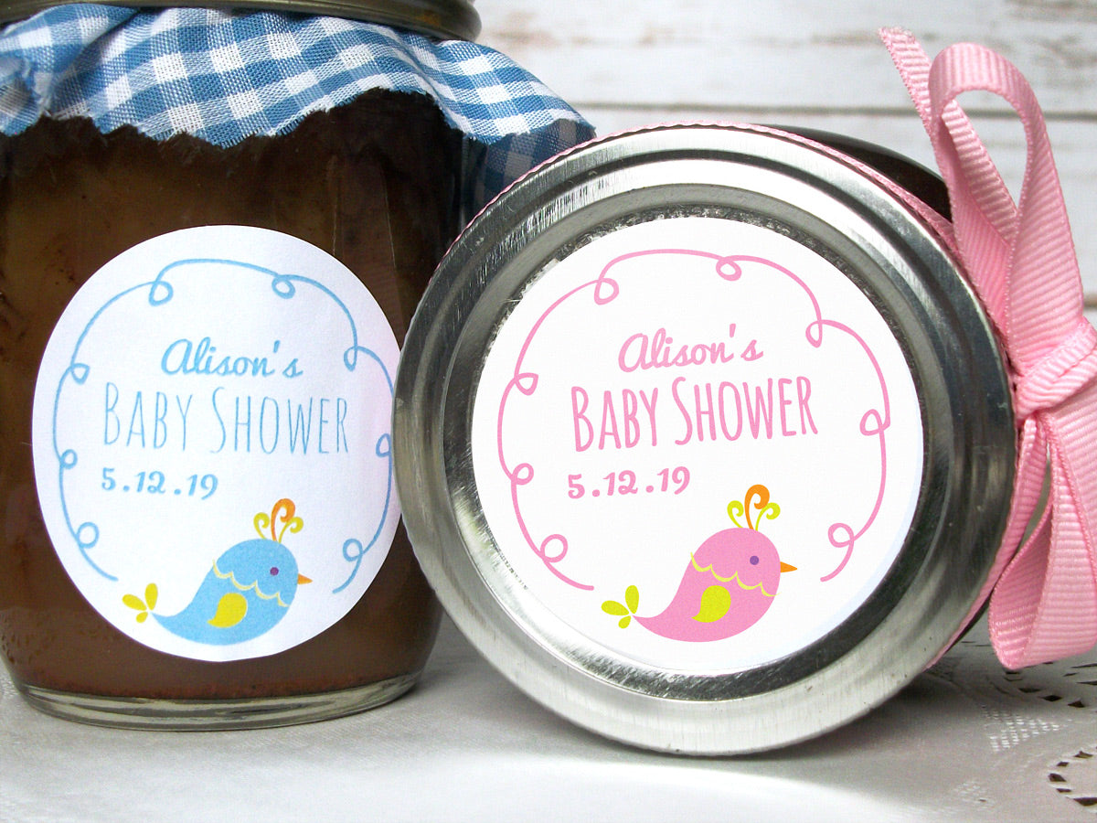 Custom Cute Bird Baby Shower Labels | CanningCrafts.com