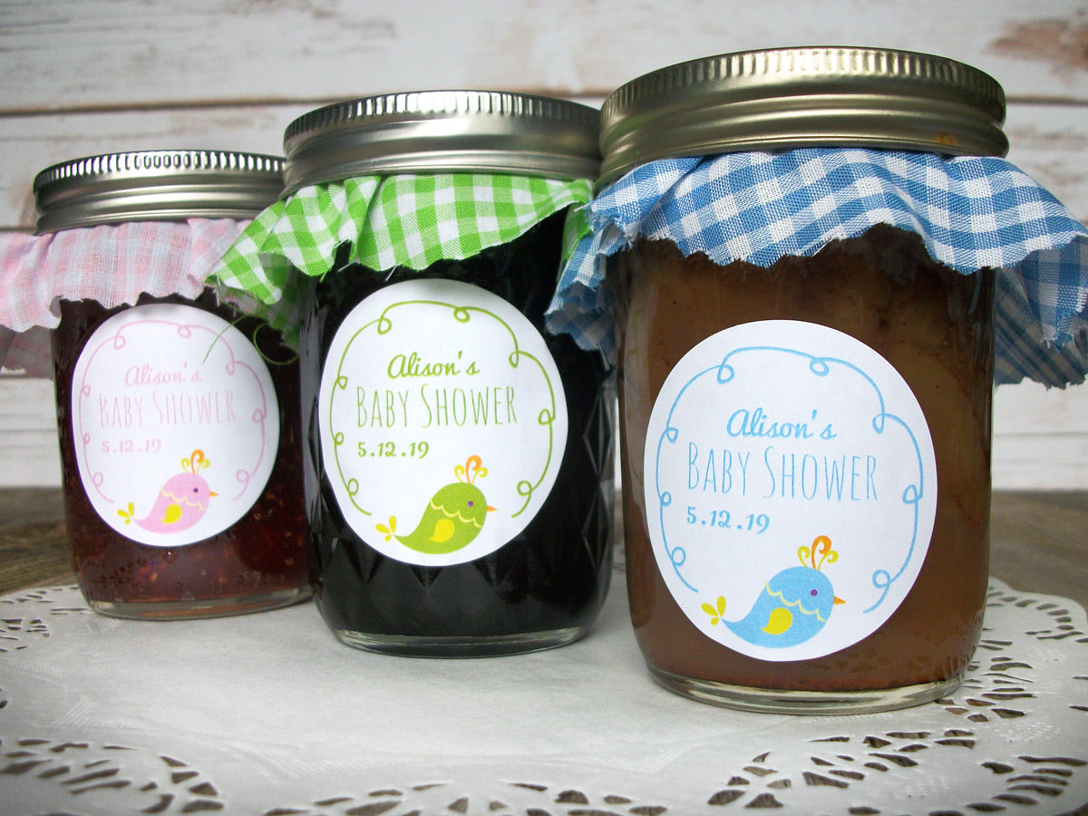 Custom Cute Bird Baby Boy & Girl Shower Labels | CanningCrafts.com
