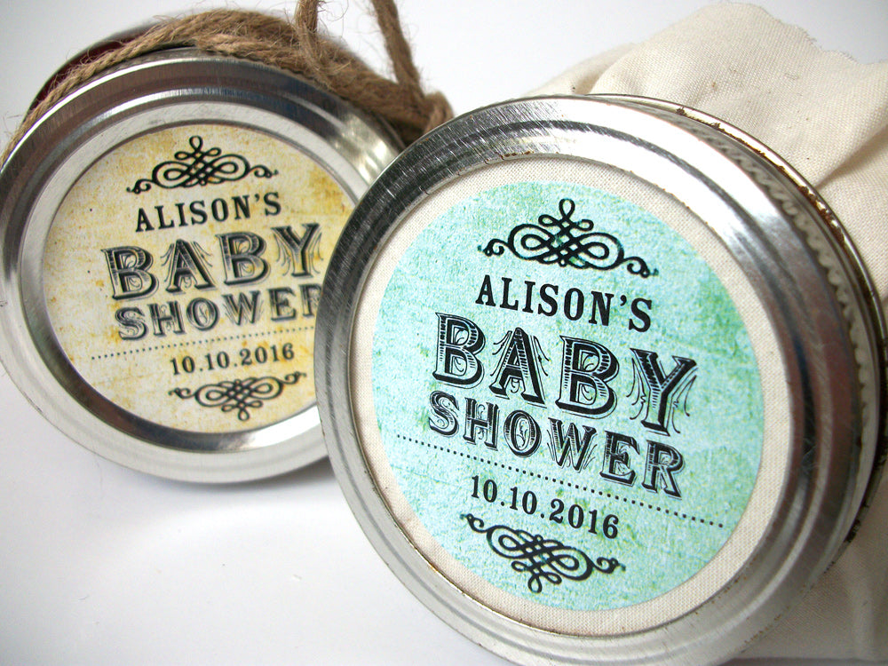 custom vintage gender neutral baby shower labels | CanningCrafts.com