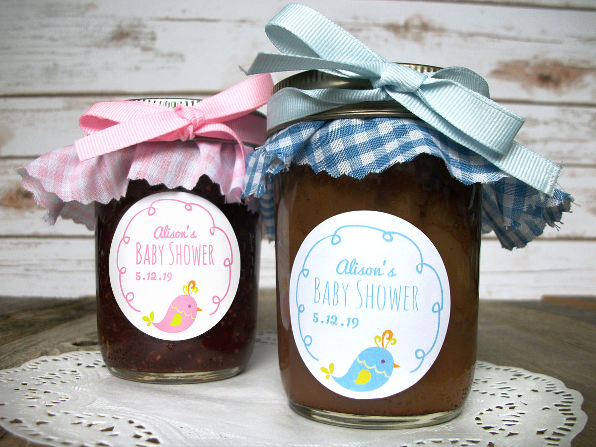 Custom Cute Bird Baby Shower Favor Labels | CanningCrafts.com