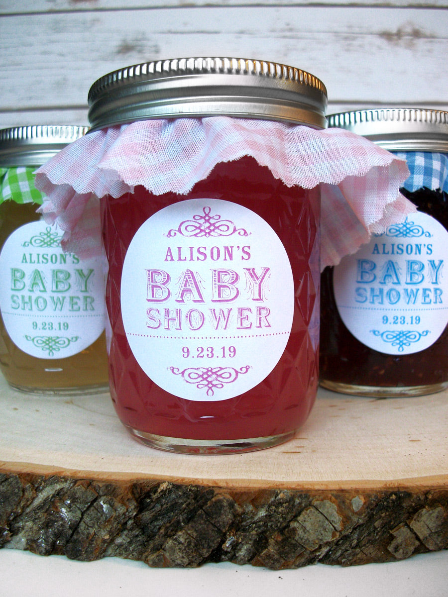Custom vintage baby boy & girl shower favor labels for jam & jelly jar favors | CanningCrafts.com