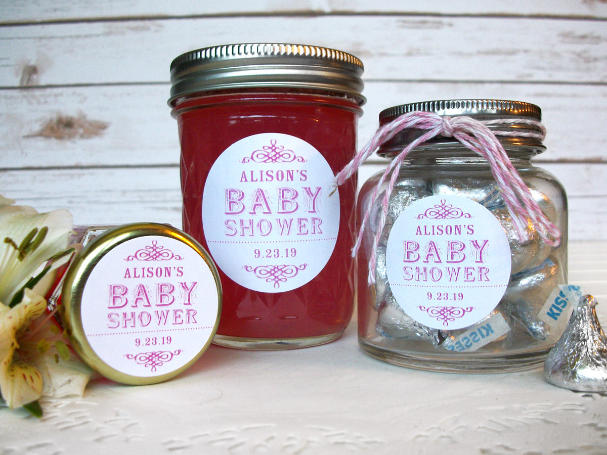 Custom vintage baby girl shower labels for favors | CanningCrafts.com