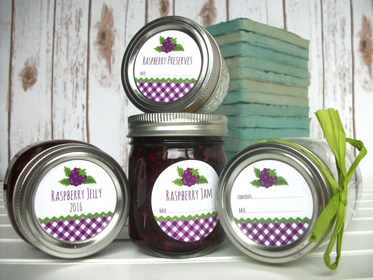 Gingham Black Raspberry Jam Jelly Preserves Canning Labels | CanningCrafts.com