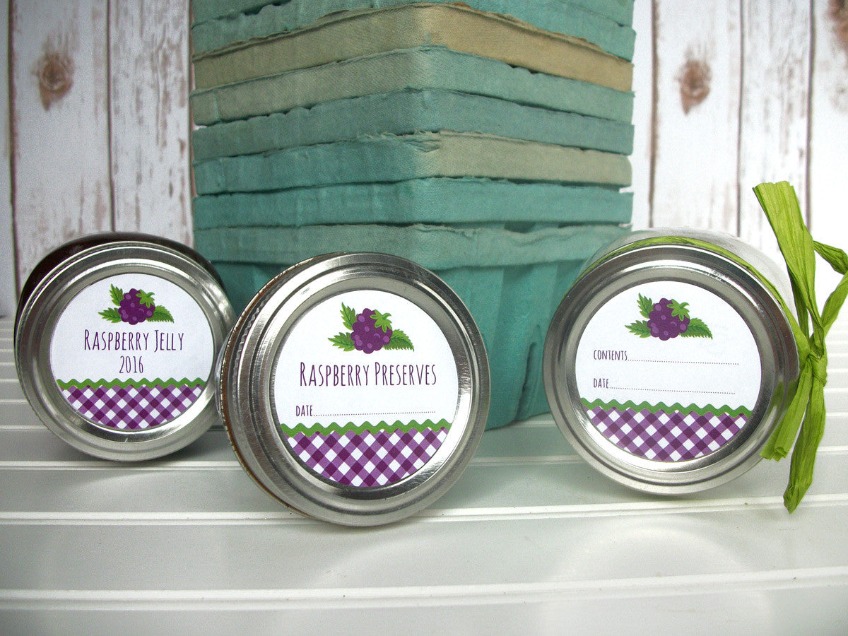 Gingham Black Raspberry Jam Jelly Preserves Canning Labels