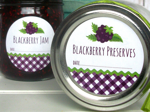 Gingham Blackberry Preserves Canning Labels | CanningCrafts.com