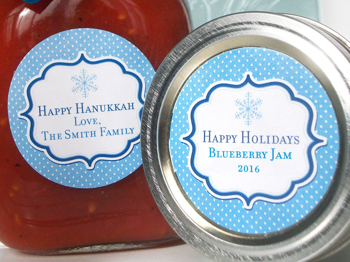 Blue Christmas Hanukkah Custom Canning Labels | CanningCrafts.com