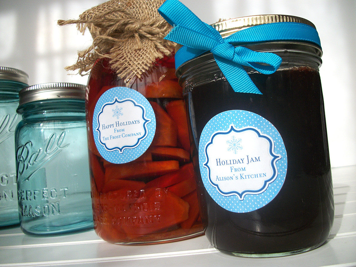 Custom Blue Christmas Hanukkah Canning Labels | CanningCrafts.com