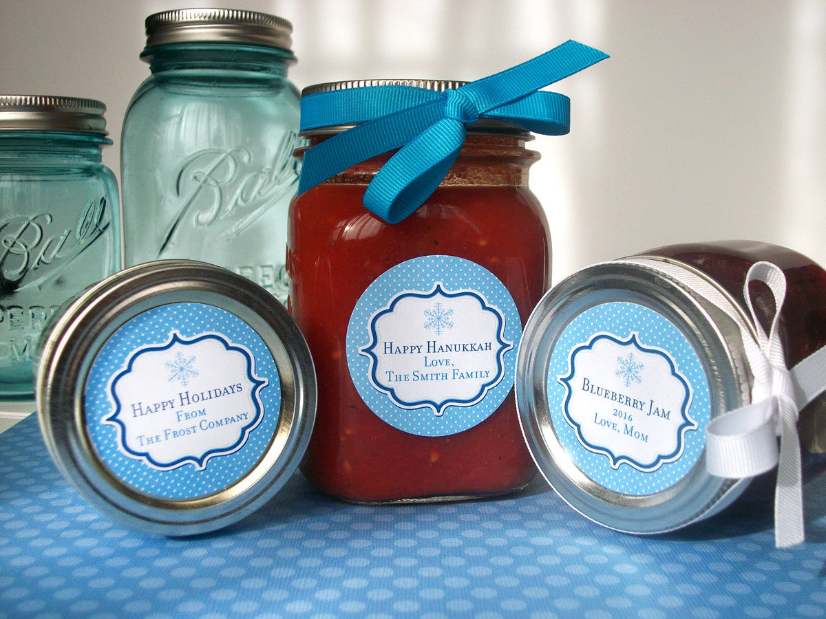 Blue Snowflake Hanukkah Canning Jar Labels | CanningCrafts.co
