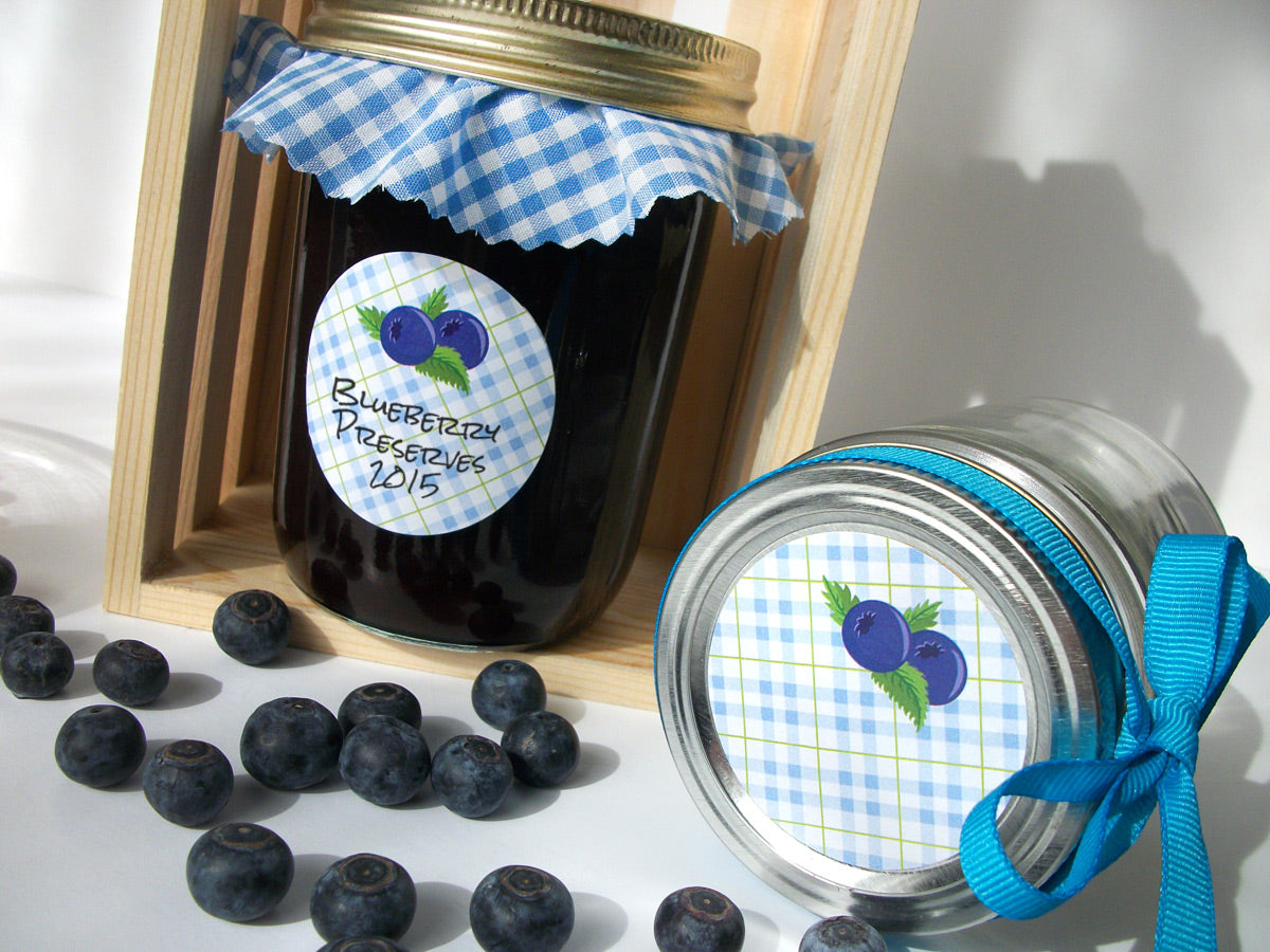Plaid Blueberry Canning Labels | CanningCrafts.com