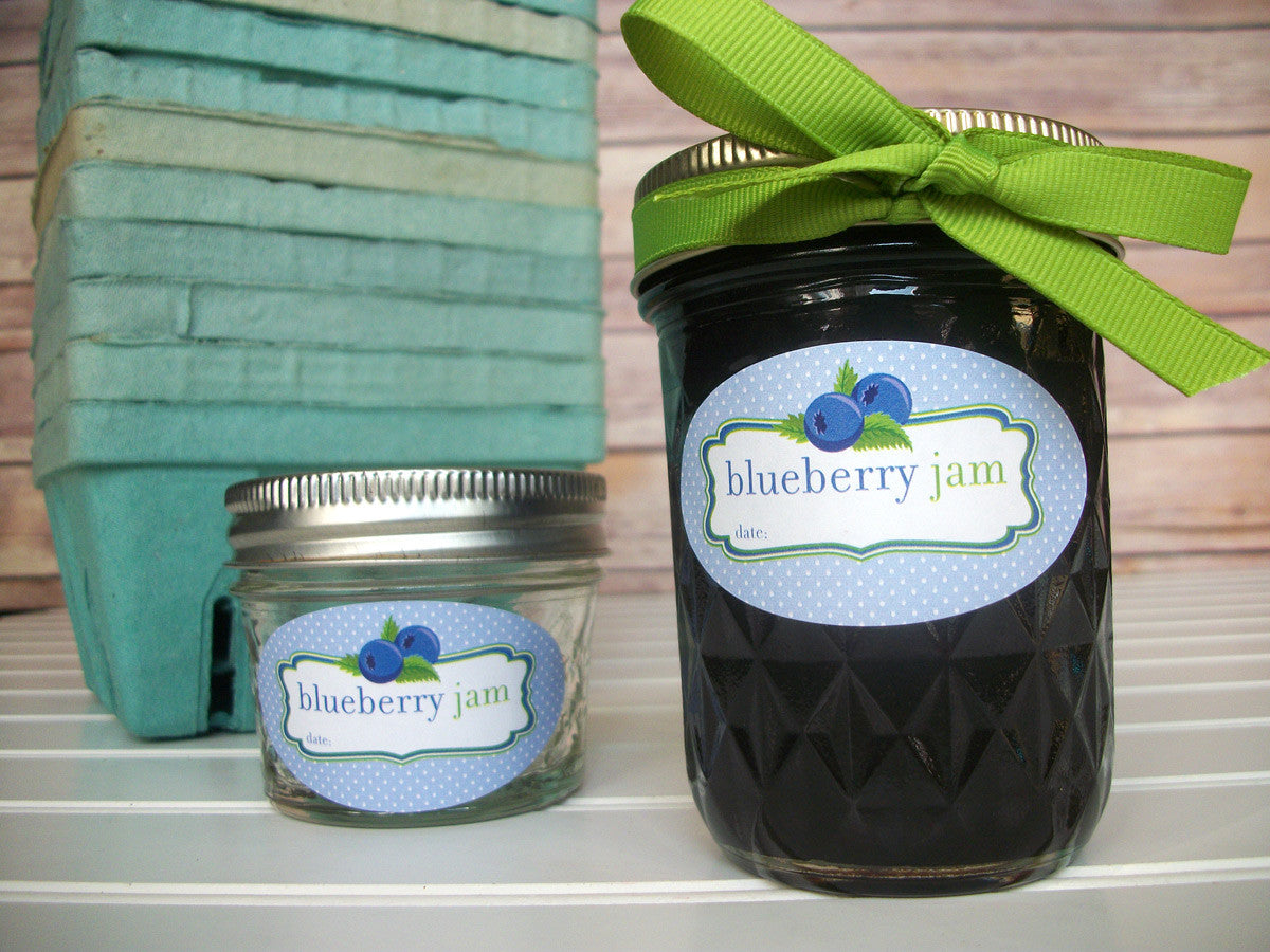 Oval Blueberry Jam Quilted Canning Jar Labels | CanningCrafts.com
