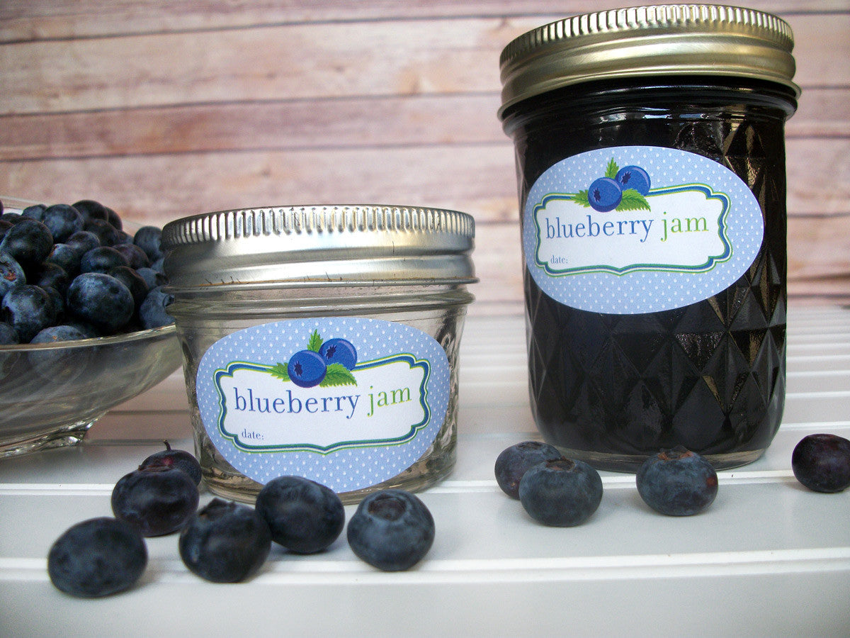Quilted canning jar labels for blueberry jam jars | CanningCrafts.com