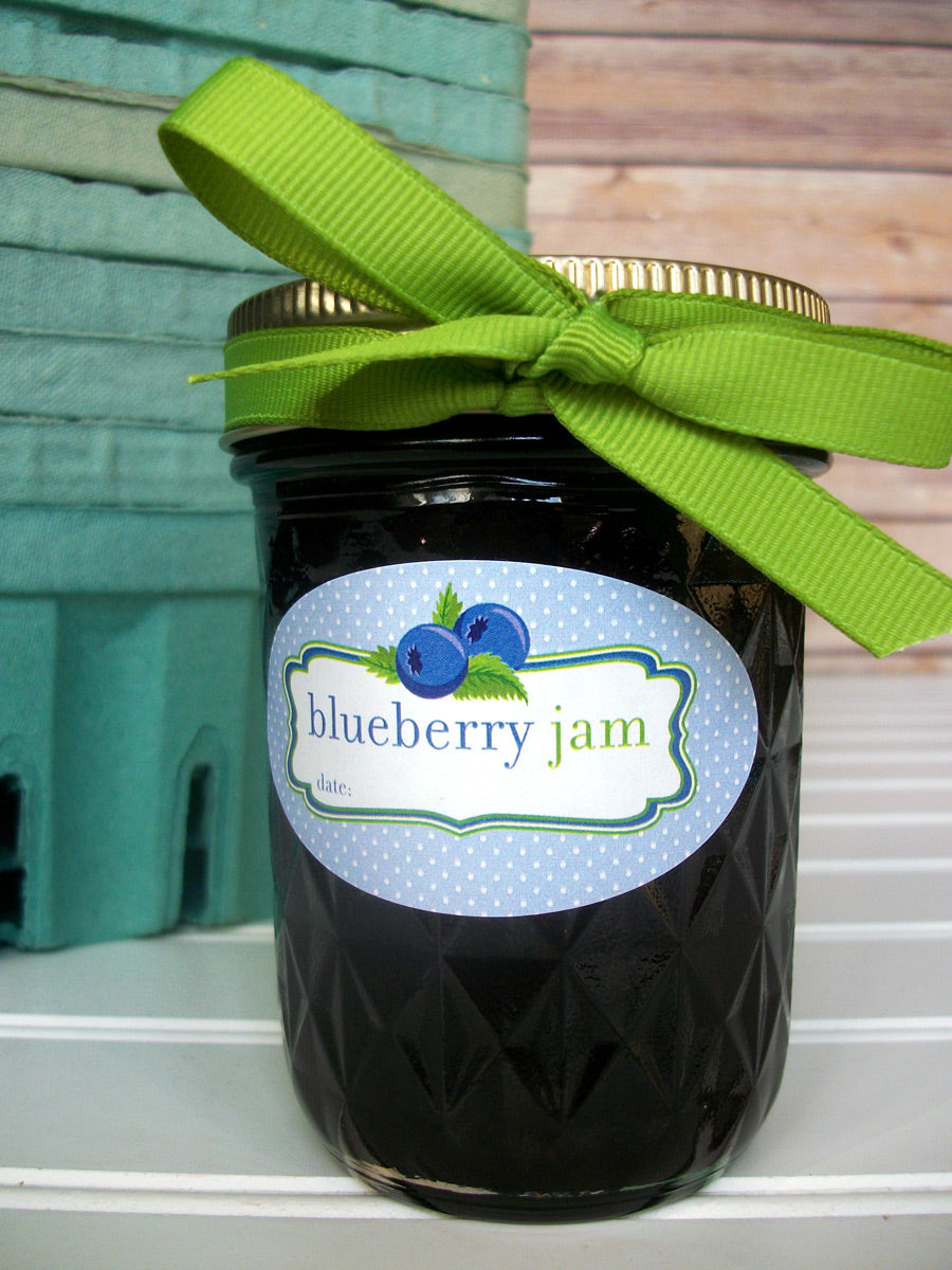 Blueberry Jam Oval Canning Jar Labels for quilted mason jars | CanningCrafts.com