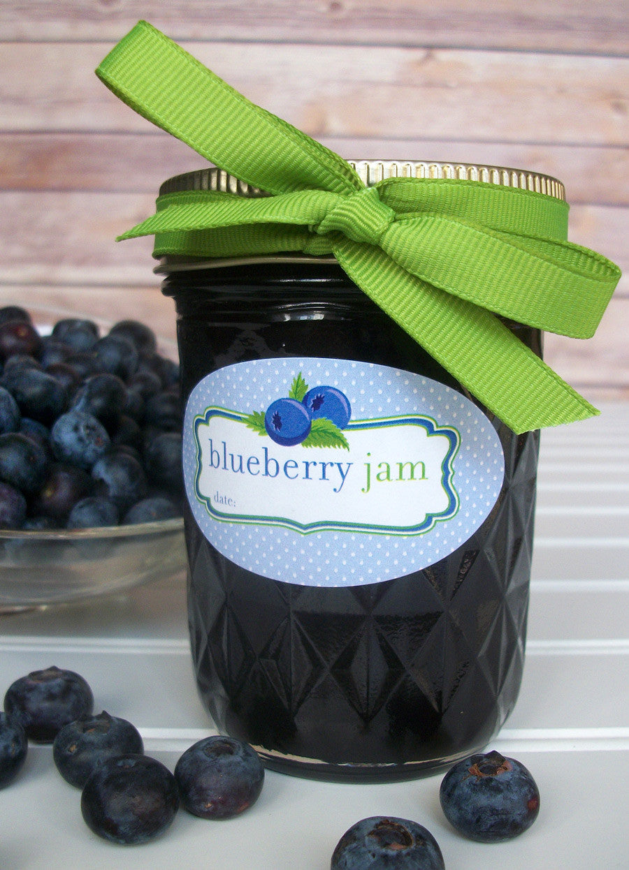 Blueberry Jam Oval Canning Jar Labels for quilted jam jars | CanningCrafts.com