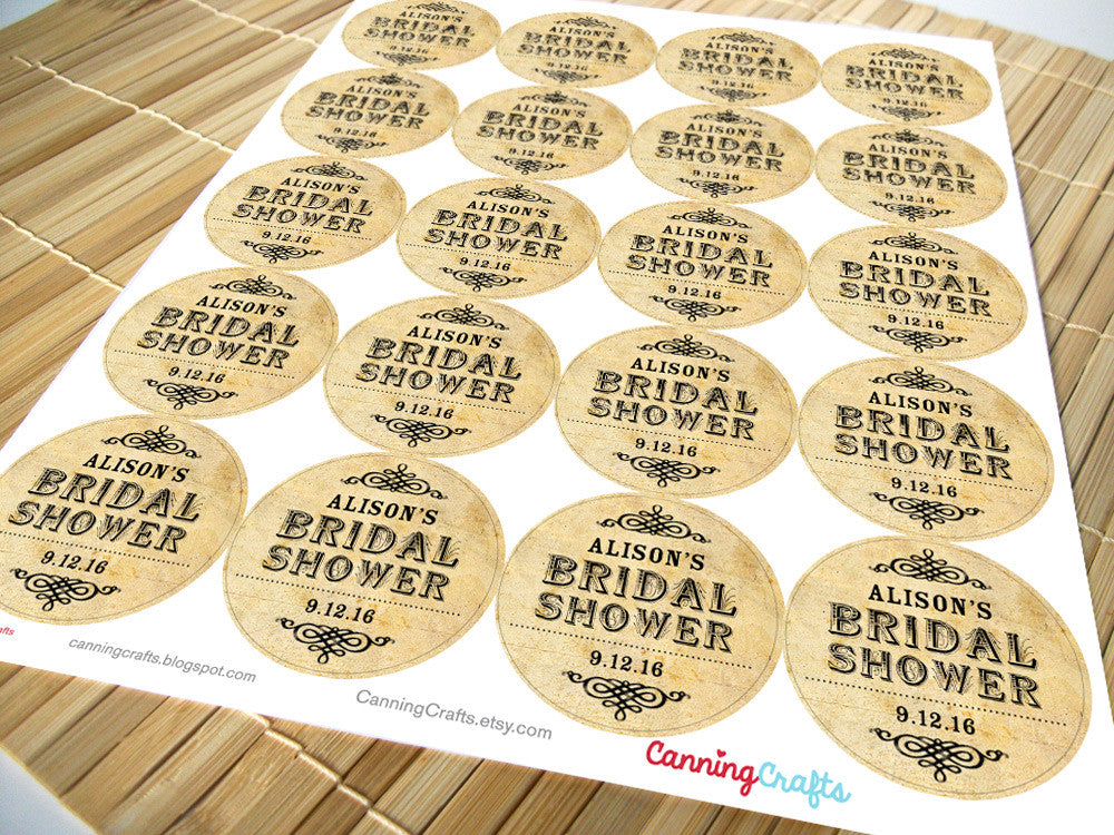 custom vintage bridal shower label | CanningCrafts.com