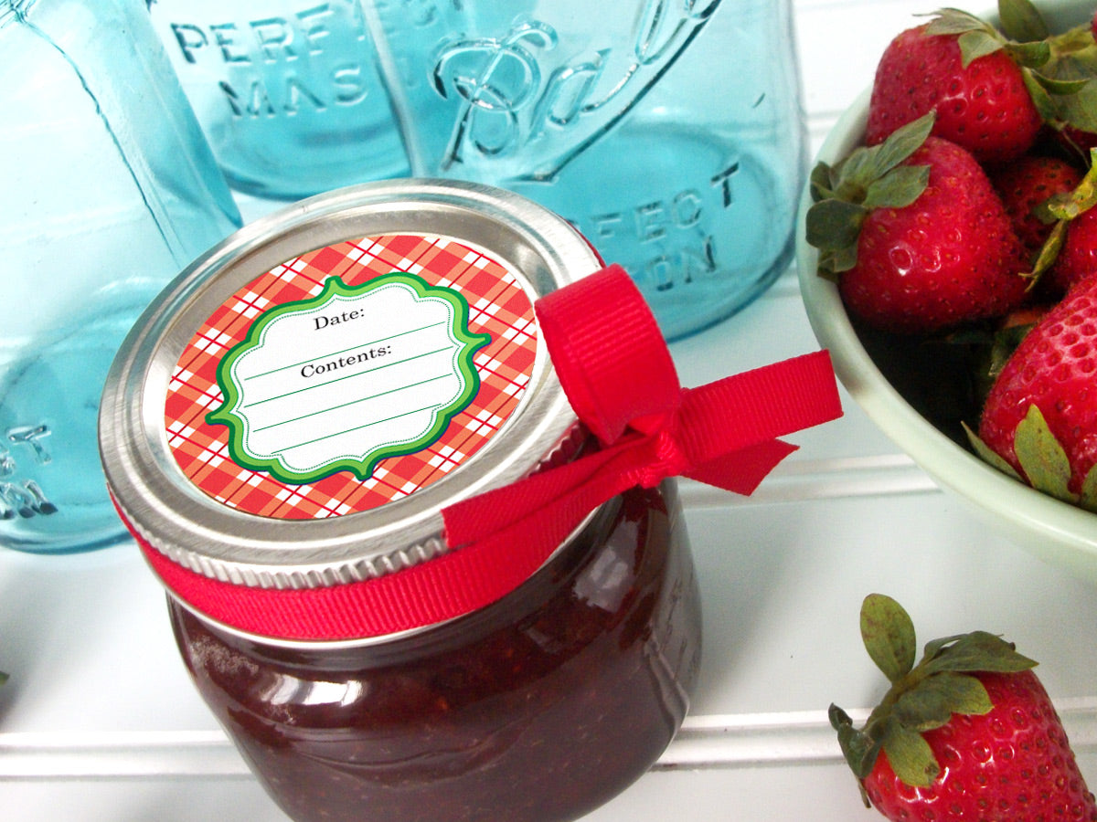 bright plaid jam jar canning labels | CanningCrafts.com