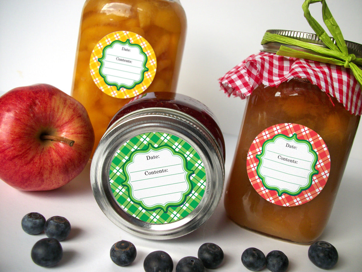 bright plaid canning jar labels | CanningCrafts.com