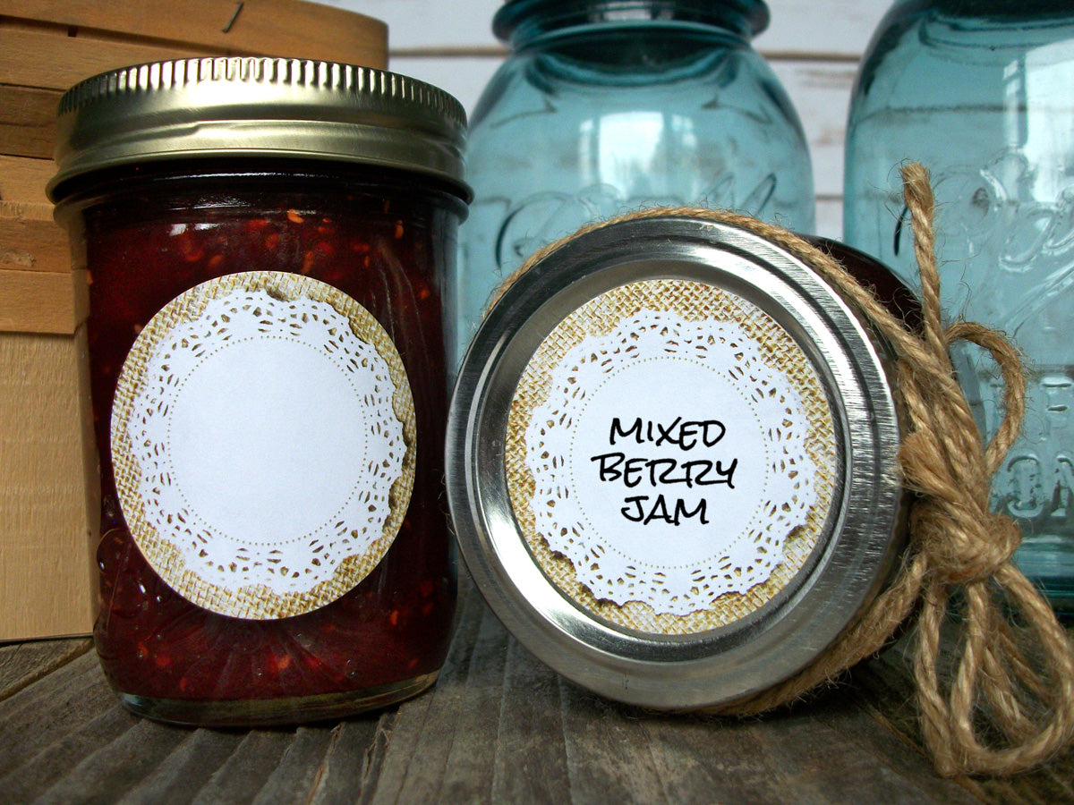 Cottage chic burlap doily canning jar labels | CanningCrafts.com