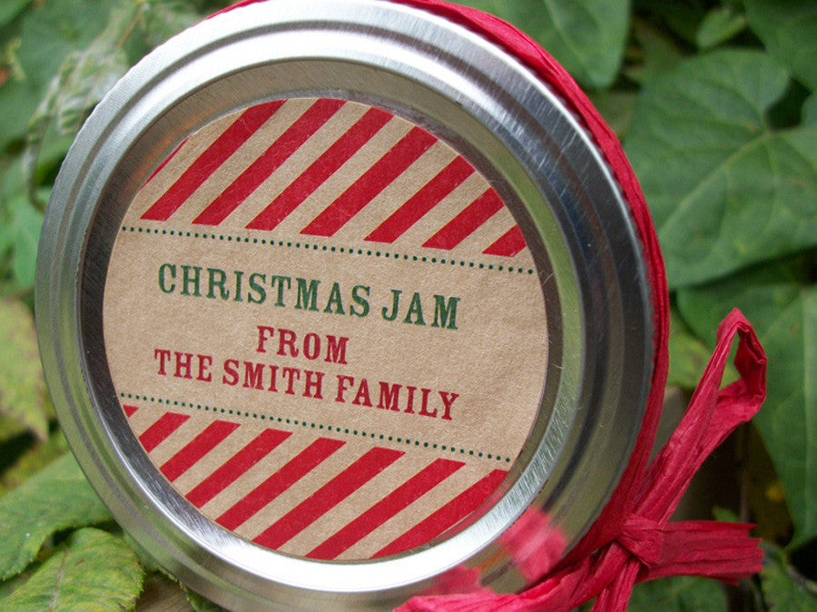 Custom Candy Cane Striped Christmas Canning Labels | CanningCrafts.com