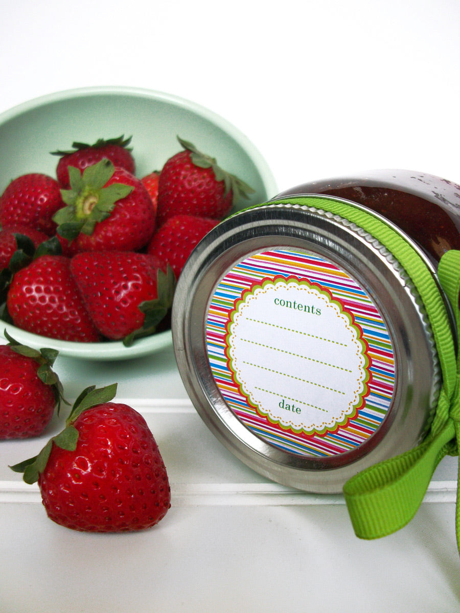 Candy Stripes jam jar canning labels | CanningCrafts.com