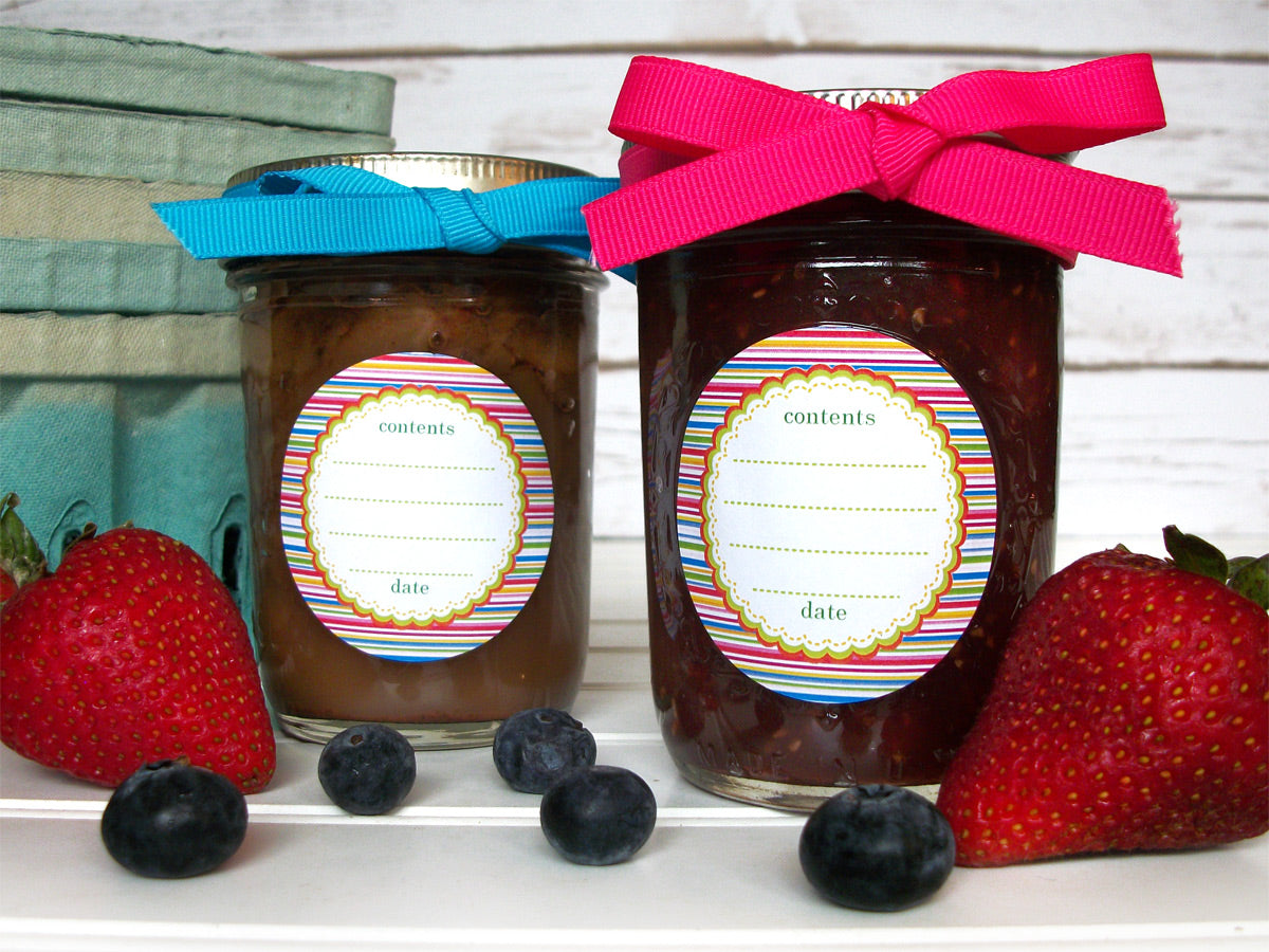 Candy Stripes Canning Labels | CanningCrafts.com