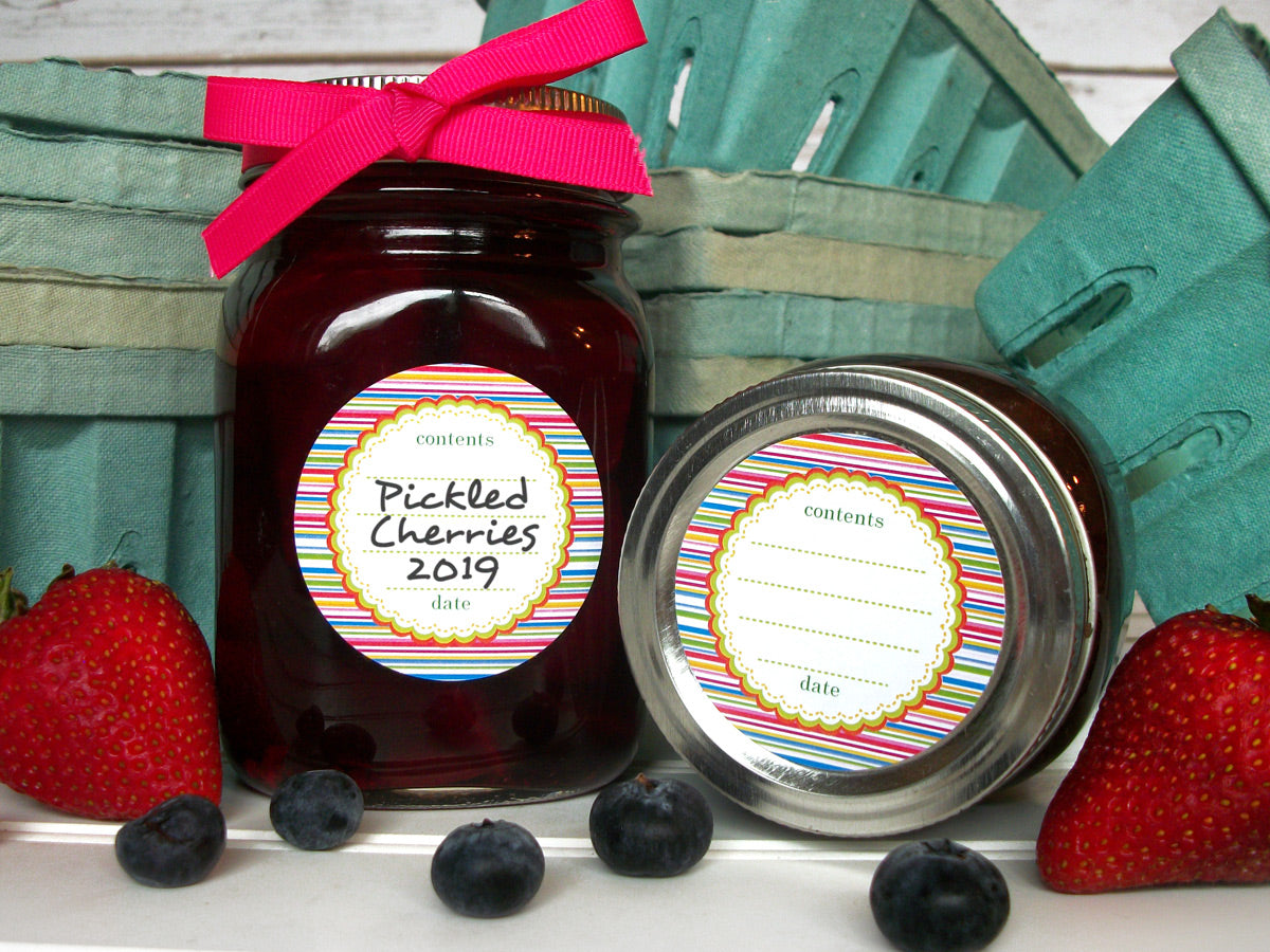 Candy Stripes Jam & Jelly Jar Canning Labels | CanningCrafts.com