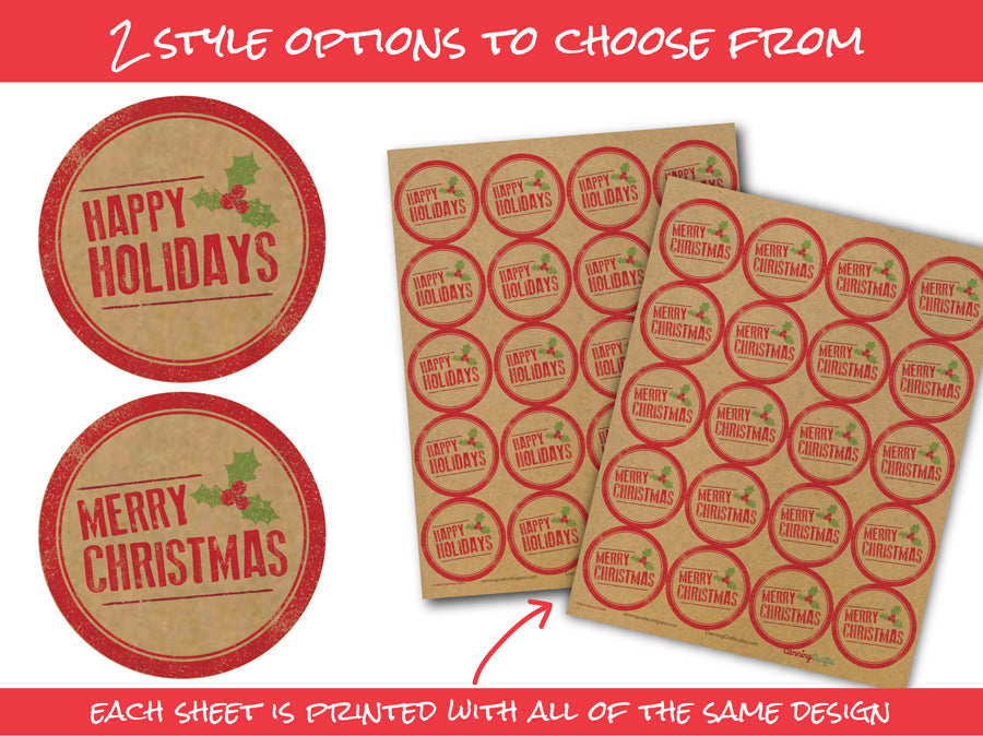 Rubber Stamp Merry Christmas or Happy Holidays Canning Labels | CanningCrafts.com