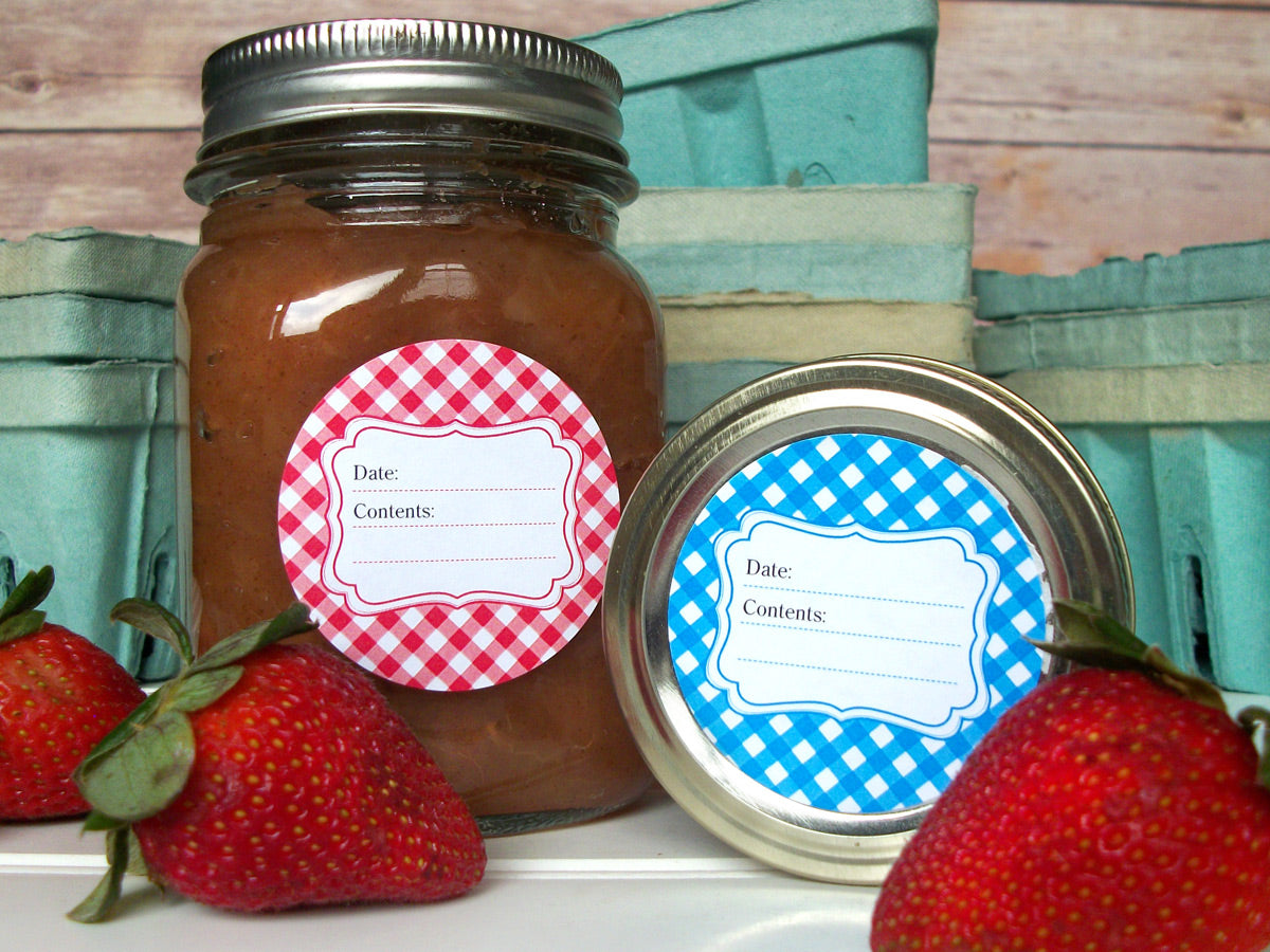 Classic Red & Blue Gingham Canning Labels | CanningCrafts.com