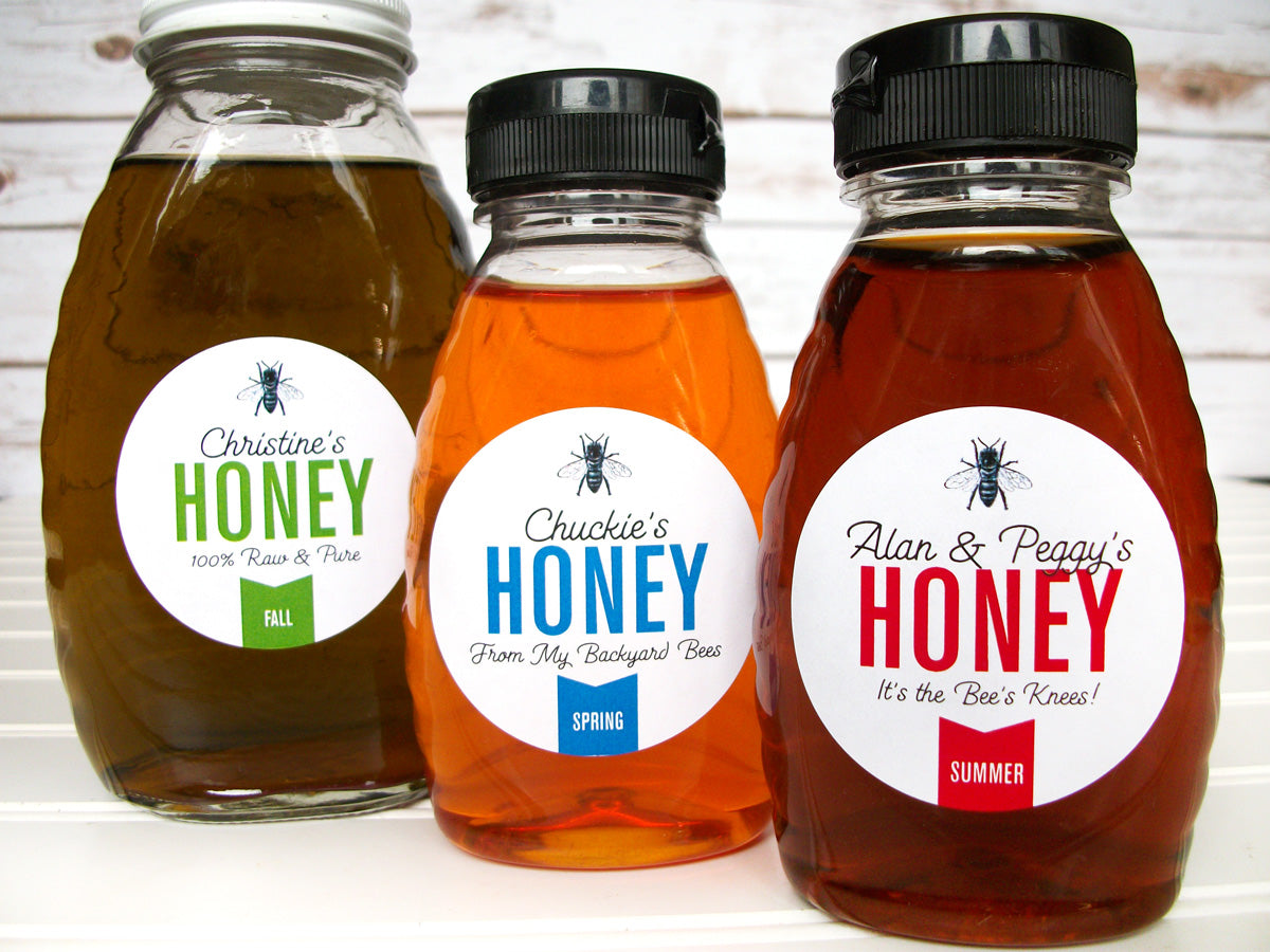 Custom Colorful Honey Bottle Labels | CanningCrafts.com
