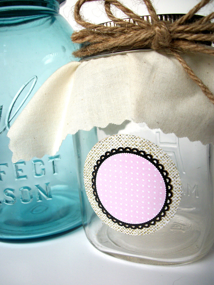 Cottage Chic Burlap Canning Labels | CanningCrafts.com