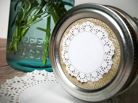 Cottage chic burlap doily canning labels | CanningCrafts.com