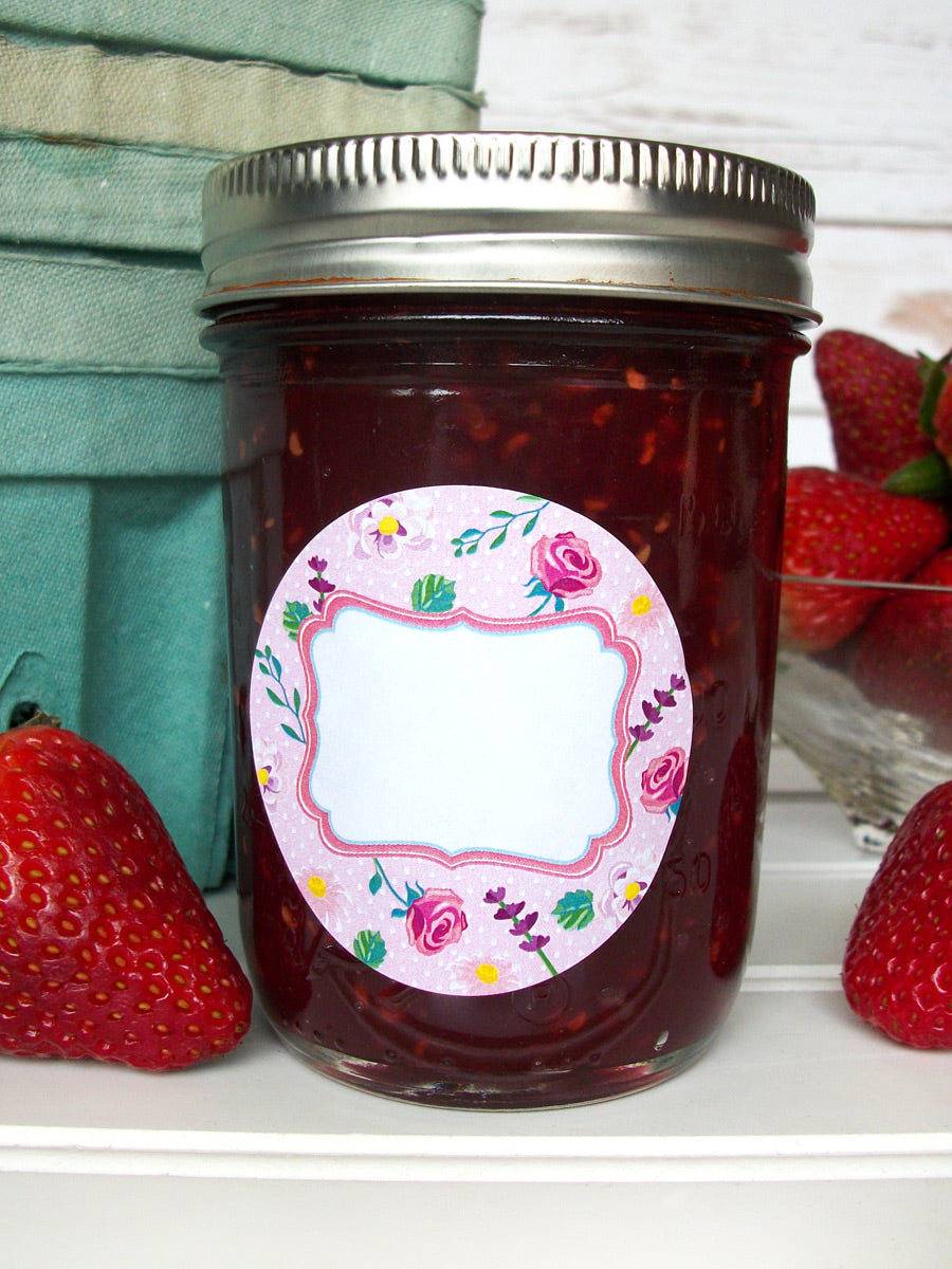 Cottage Chic Flower Jam Jar Labels  | CanningCrafts.com