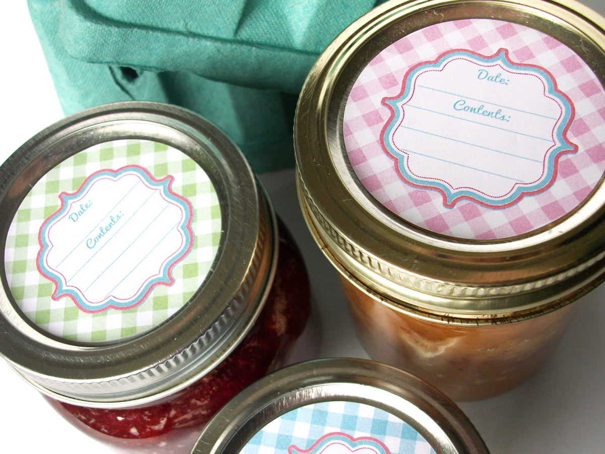 pastel cottage chic gingham canning labels | CanningCrafts.com