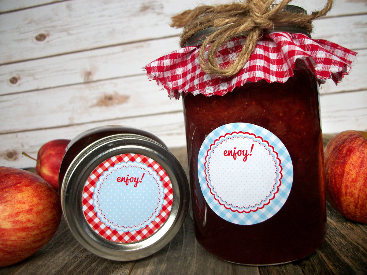 Cottage Chic Red & Blue Canning Jam Jar Labels  | CanningCrafts.com