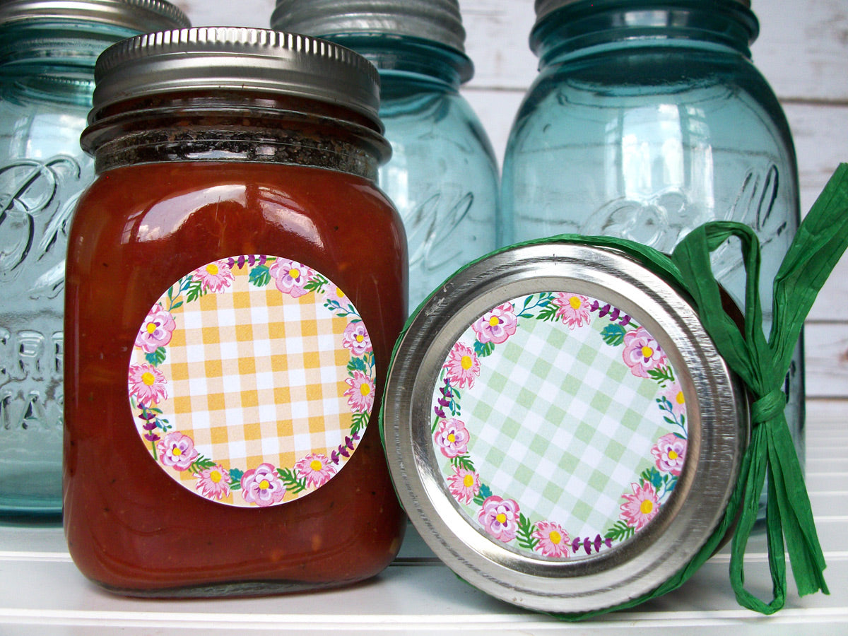 Cottage Chic Flower Canning Jar Labels | CanningCrafts.com
