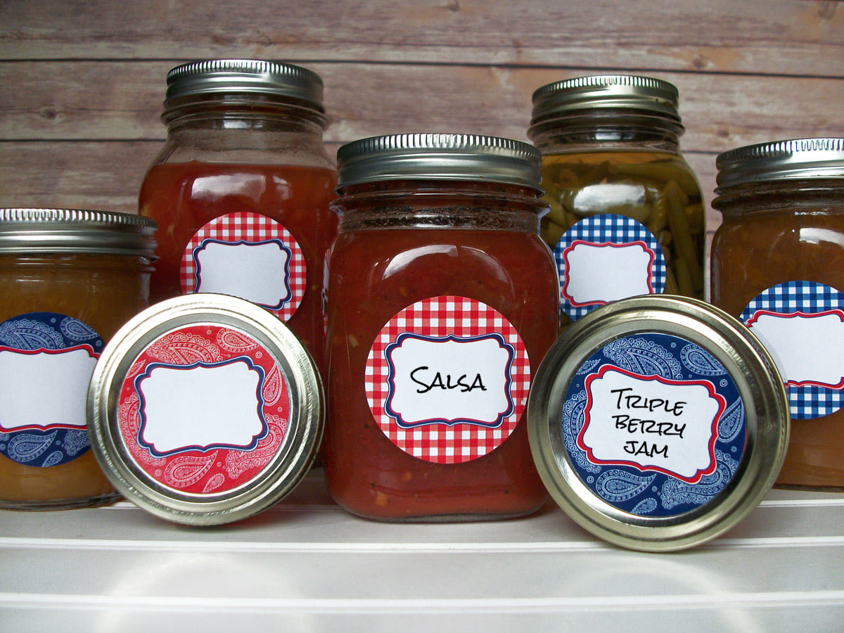 Cowboy Paisley Gingham Canning Labels | CanningCrafts.com
