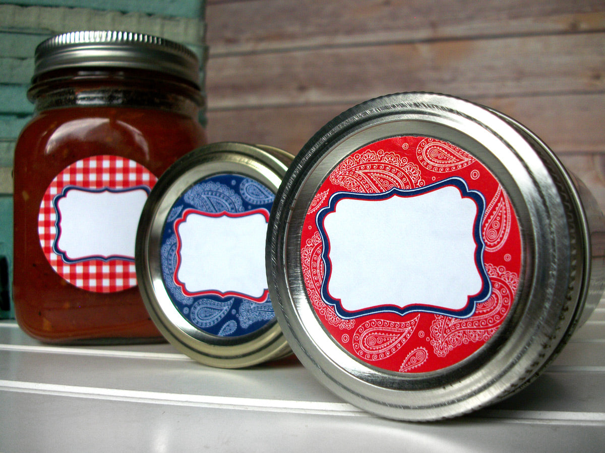 Cowboy Paisley Gingham Mason Canning Jar Labels | CanningCrafts.com