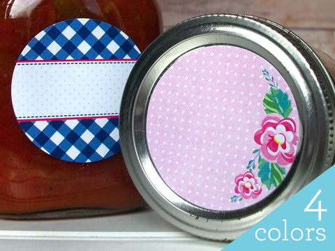 Cowgirl Floral Gingham Canning Labels | CanningCrafts.com