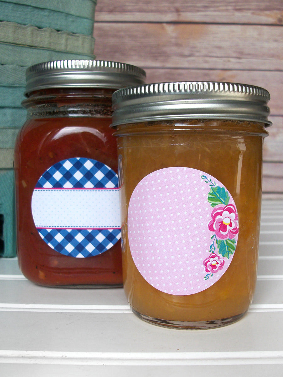 Cowgirl Floral Gingham Jam & Jelly Canning Labels | CanningCrafts.com