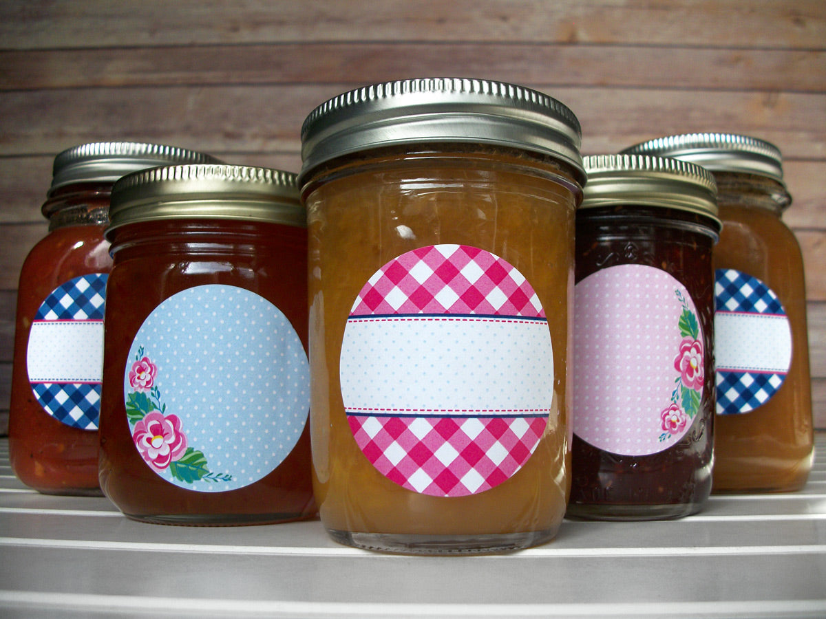 Cowgirl Floral Gingham Canning Jar Labels | CanningCrafts.com