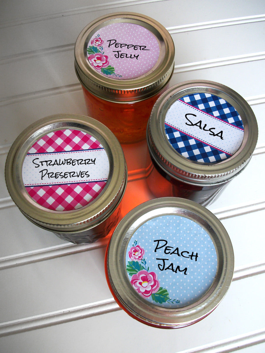 Cowgirl Floral Gingham Jam Jar Canning Labels | CanningCrafts.com