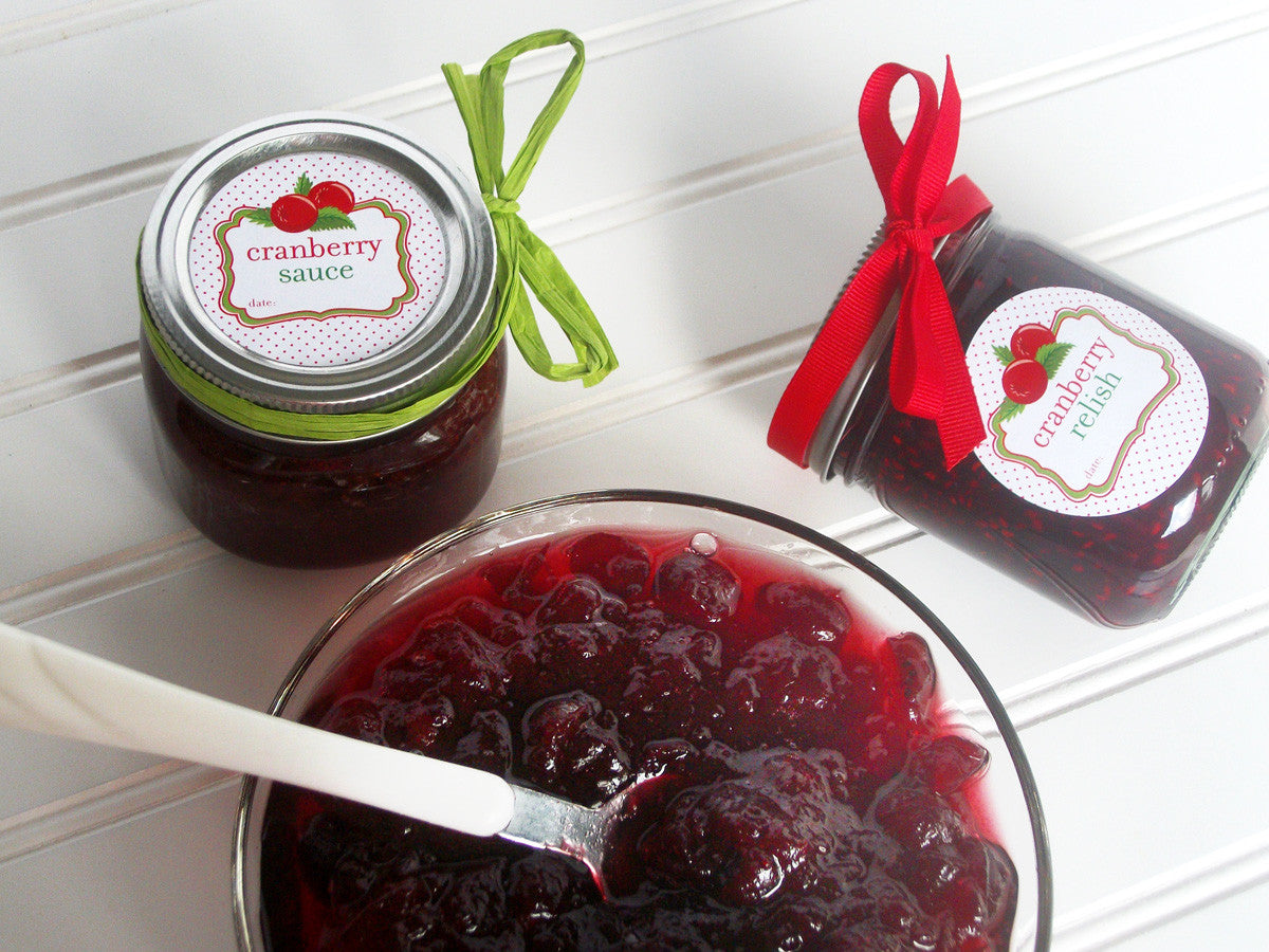 cranberry sauce & relish mason jar labels | CanningCrafts.com