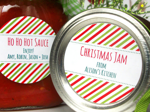 Peppermint Striped Custom Christmas Canning Labels | CanningCrafts.com