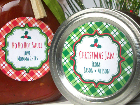 Custom red & green plaid Christmas Canning Labels | CanningCrafts.com