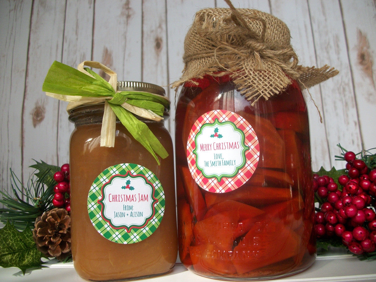 Custom red & green plaid Christmas Canning Jar Labels | CanningCrafts.com