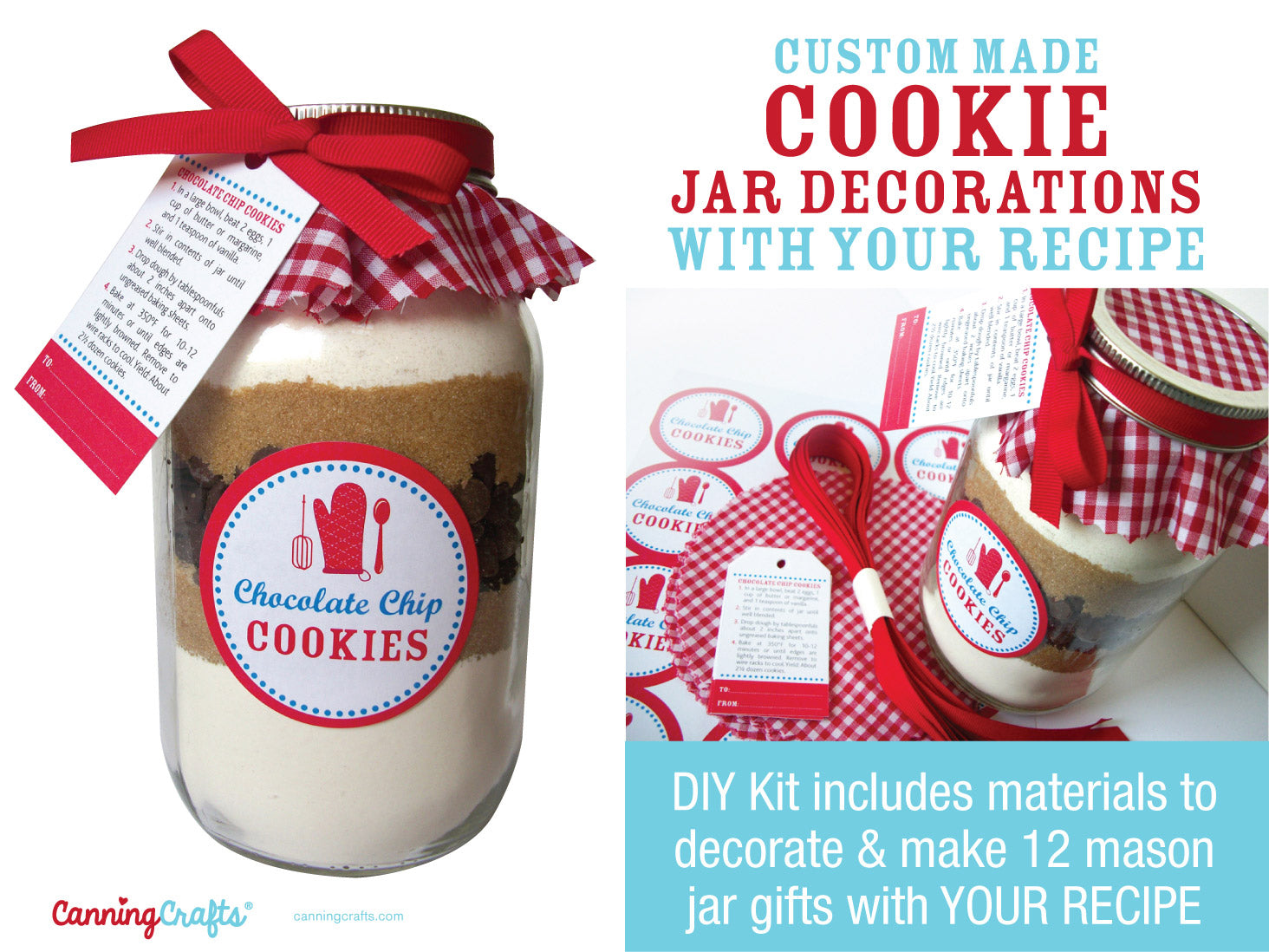 Custom Cookie Mason Jar Kit decorations made for YOUR recipe | CanningCrafts.com