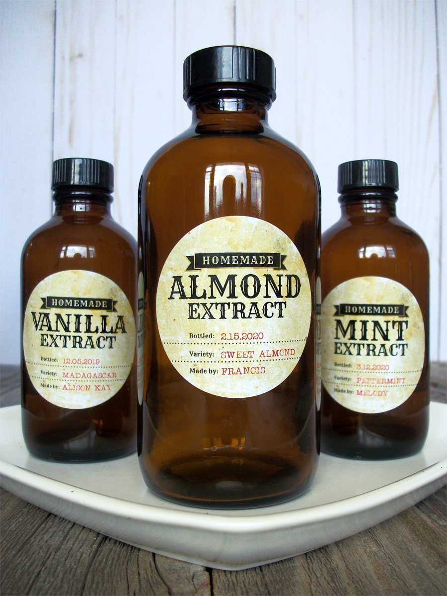 Custom Antique Almond, Mint, & Vanilla Extract Labels | CanningCrafts.com