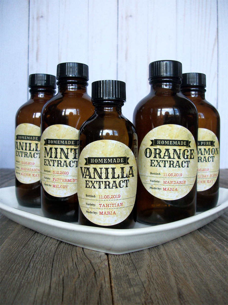 Custom Antique Almond, Vanilla, Mint, Orange, Cinnamon, & Maple Extract Bottle Labels | CanningCrafts.com