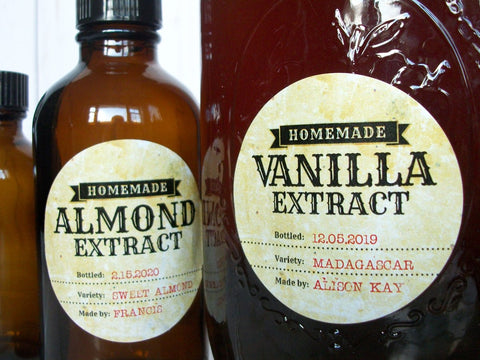 Custom Antique Almond & Vanilla Extract Labels | CanningCrafts.com
